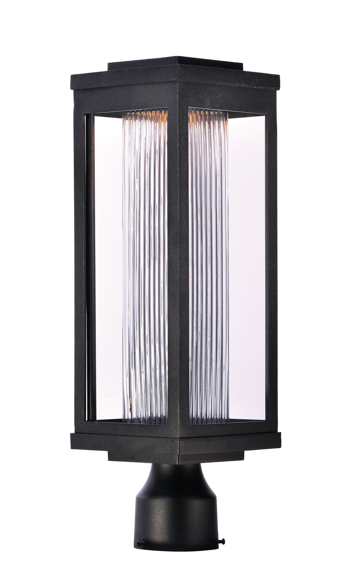 Maxim 55900CRBK Salon LED 1-Light Outdoor Post, Black Finish, Clear Ribbed Glass, PCB LED Bulb , 60W Max., Dry Safety Rating, Standard Dimmable, Shade Material, 3360 Rated Lumens