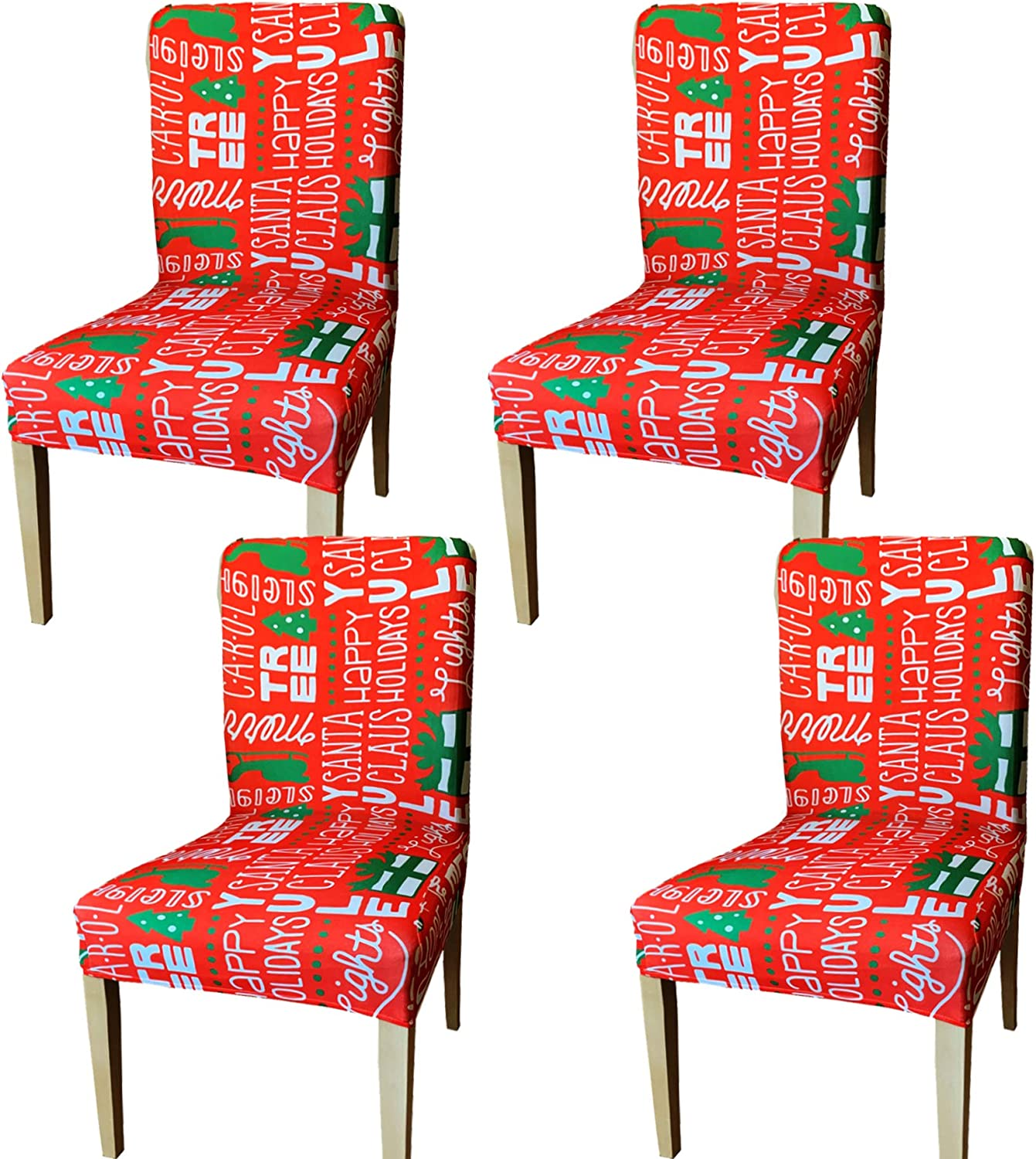 JOYIN 4 Pcs Stretch Chair Covers Christmas Removable Washable Dining Room Chair Protector Slipcovers for Christmas Home Decor Holiday Seat Cover