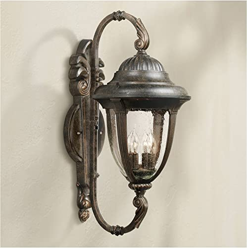 Casa Sierra Traditional Outdoor Wall Light Fixture Bronze Double Arm 27 1/2″ Clear Seedy Gla