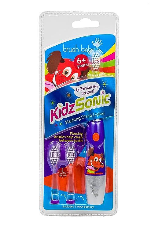 Brush Baby Purple Kidz Sonic - Cepillo de dientes eléctrico para niños, color morado