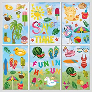 CAVLA Summer Window Clings 8 Sheets Fun in The Sun Summer Beach Pool Party Static Window Stickers Decals Decorations for Summer Hawaiian Tropical Home Office Glass Window Party Supplies