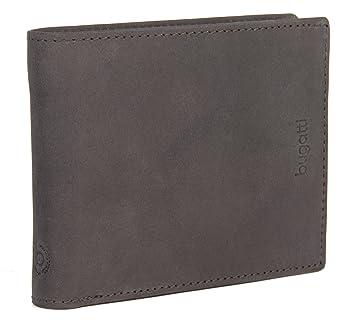6320793dce218d BUGATTI Echtleder Herren Portemonnaie im Querformat, Hochwertige Brieftasche  mit Klappfach aus echtem Leder (Dunkelbraun