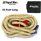 EASYGO 33 Foot TUG of WAR Rope with Flag – Kids and Adults Family Game – Team Building – Soft Rope - Professional Long Lasting - Extra Thick for Easier GRIPPING