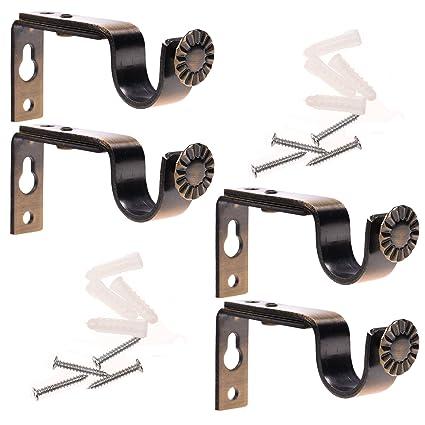 3 curtain rod darkening curtain bcp set of bronze color heavy duty curtain rod brackets for 34 or amazoncom