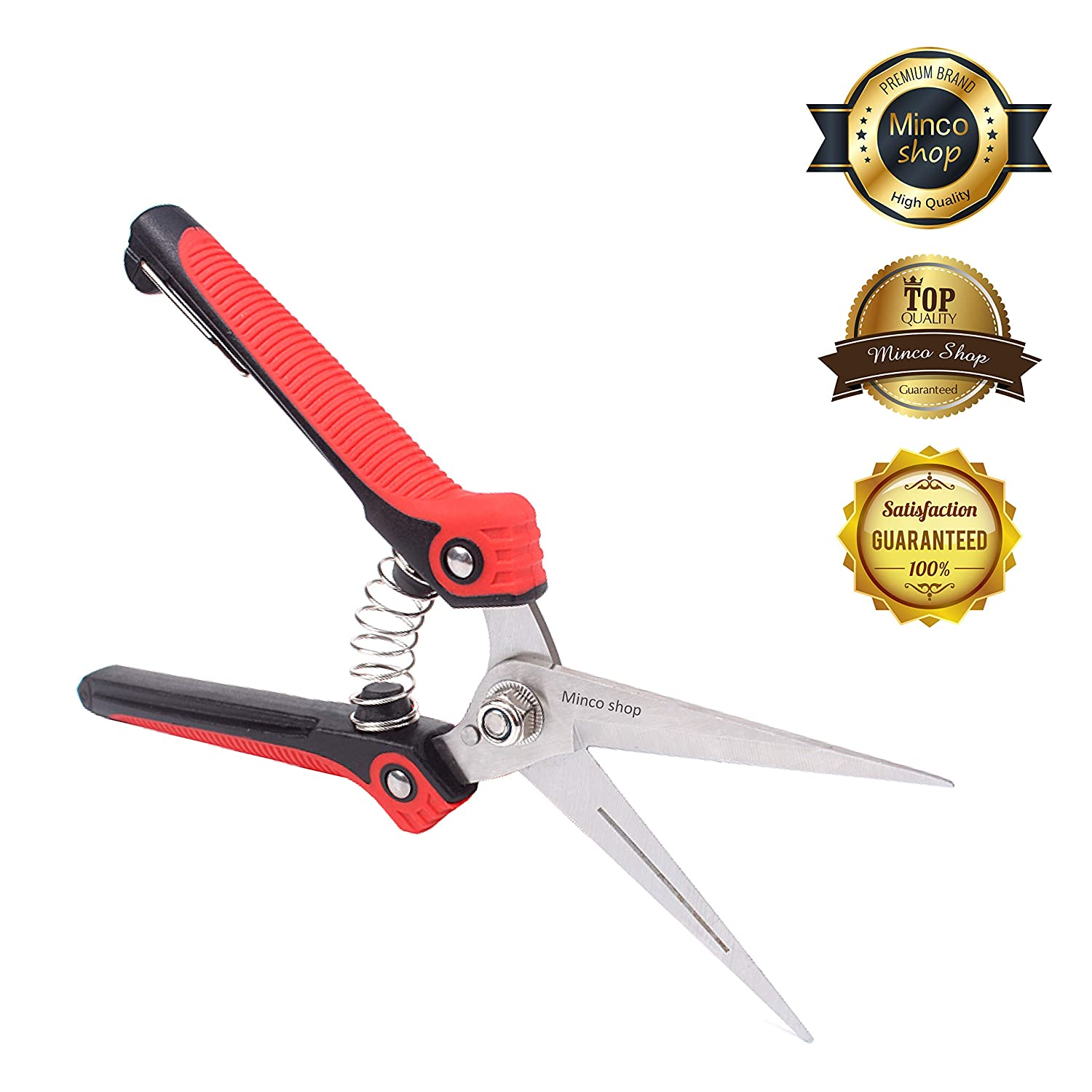 Minco shop Pruning Shears, Gardening Hand Pruner Curved Blade Pruner Premium Heavy Duty Stainless Steel Sharp Clippers red01