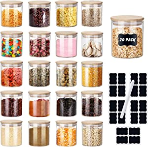 Spice Jars, XSIUYU 2.7 OZ Glass Storage Jars with Bamboo Airtight Lids, Labels and Pen, Dishwasher Safe, Food Storage Jars Kitchen Canister for Home Pantry Tea Coffee Flour Herbs Beans Salt Grains Sugar (20 Pack-2.7oz)
