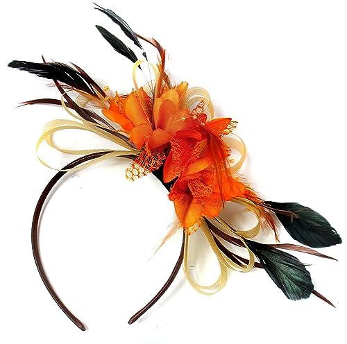 Oro y naranja neta Tocado Diadema aro de pelo de pluma boda Royal Ascot de carreras
