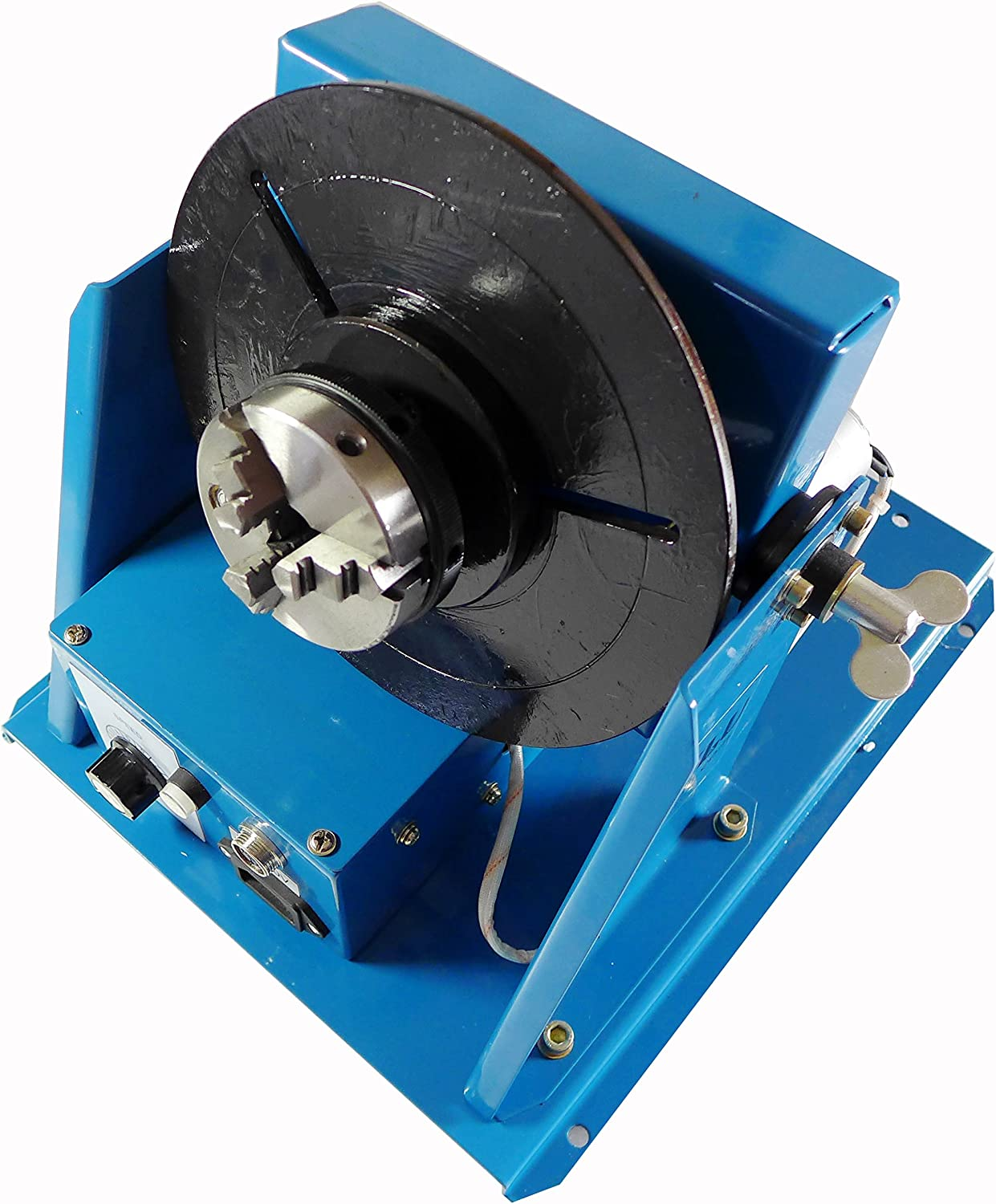 """Rotary Welding Positioner Turntable Table 2.5/"""" 3Jaw Lathe Chuck 2-10RPM 80A 110V"""