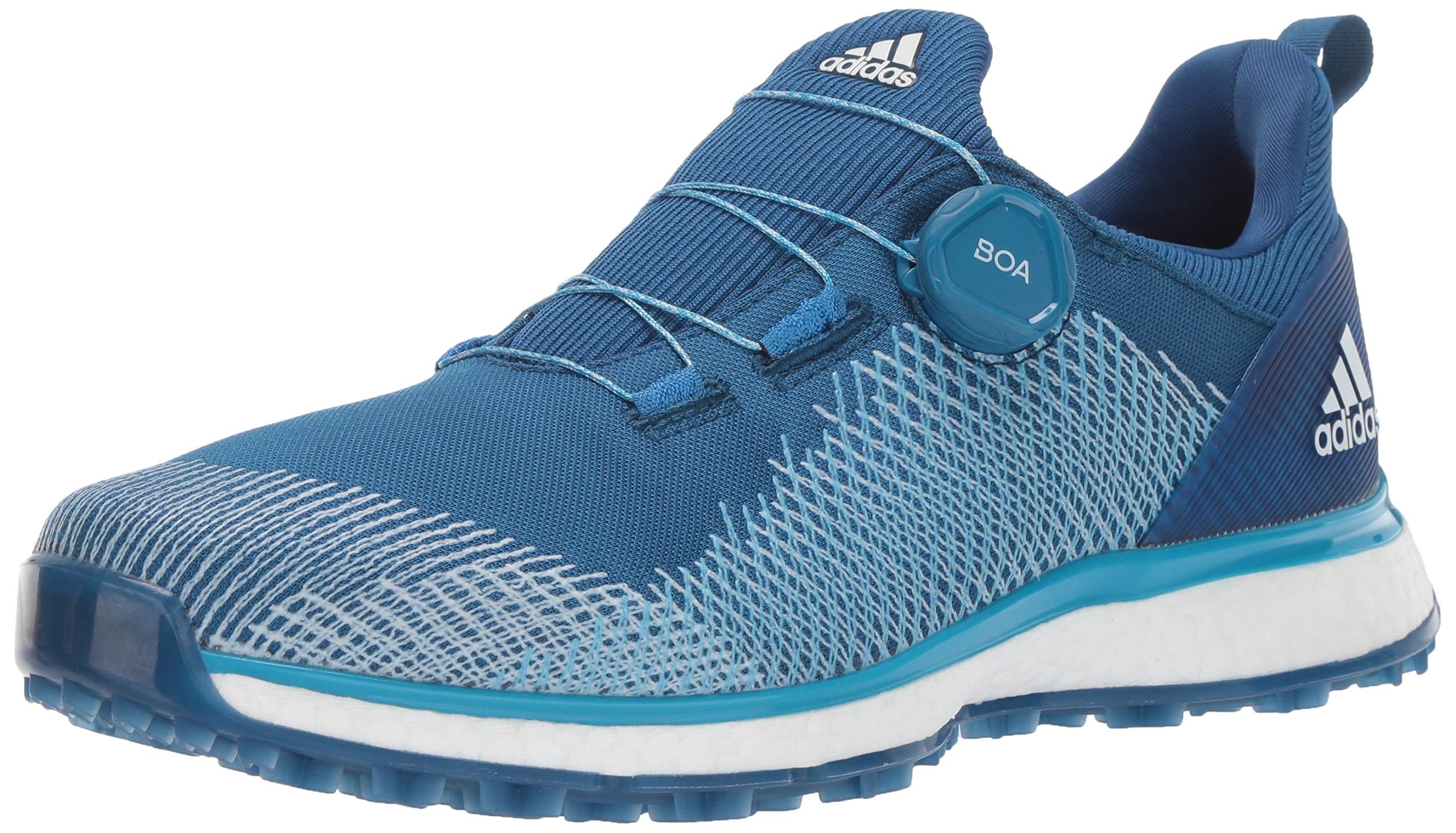 adidas Men's FORGEFIBER BOA Golf Shoe Dark Marine/Shock Cyan/FTWR White 7 M US