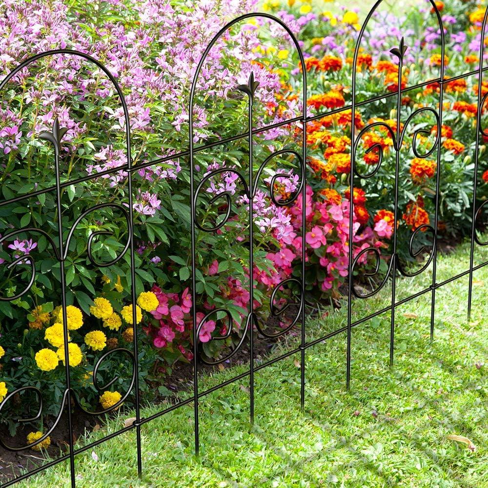 Amagabeli Garden Fence 32in x 10ft Decorative Garden Fencing Rustproof Black Iron Border Fence Panel Edging Metal Wire Fencing Animal Barrier for Outdoor Patio Vinyl Flower Bed Vegetable Folding Fence