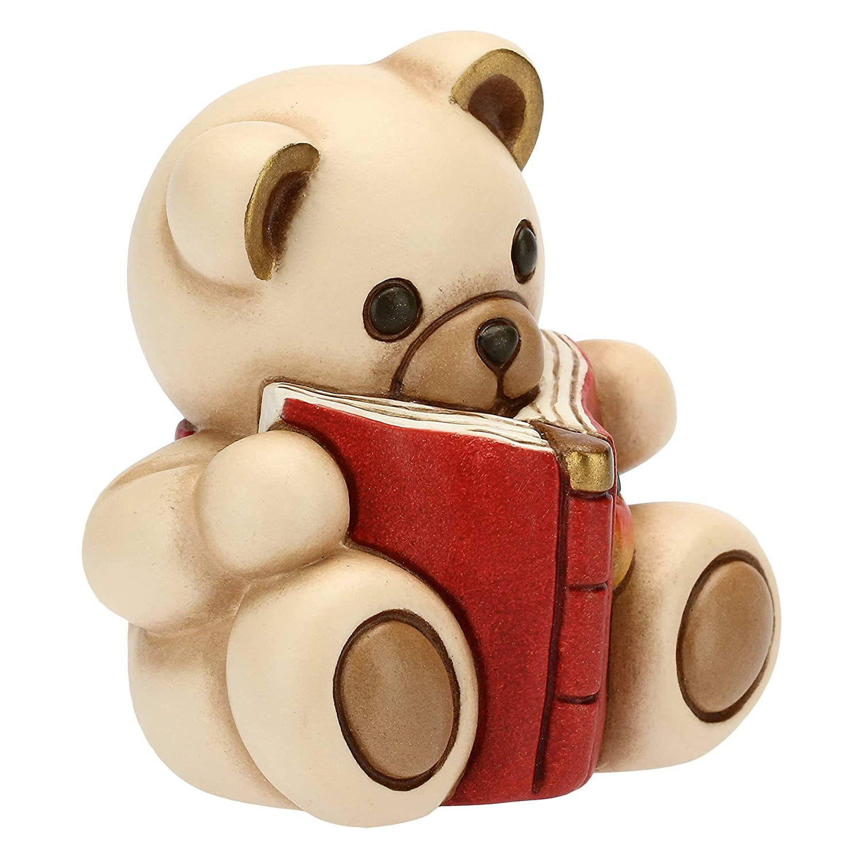 THUN Teddy con Libro Linea Preludio dinverno Formato Piccolo h 7,5x7,5x6 cm Ceramica