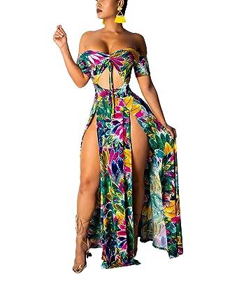 6e7c2eb019c Womens Sexy Elegant Maxi Dress - Off Shoulder Short Sleeve Floral Tie Front  Split Party Swing