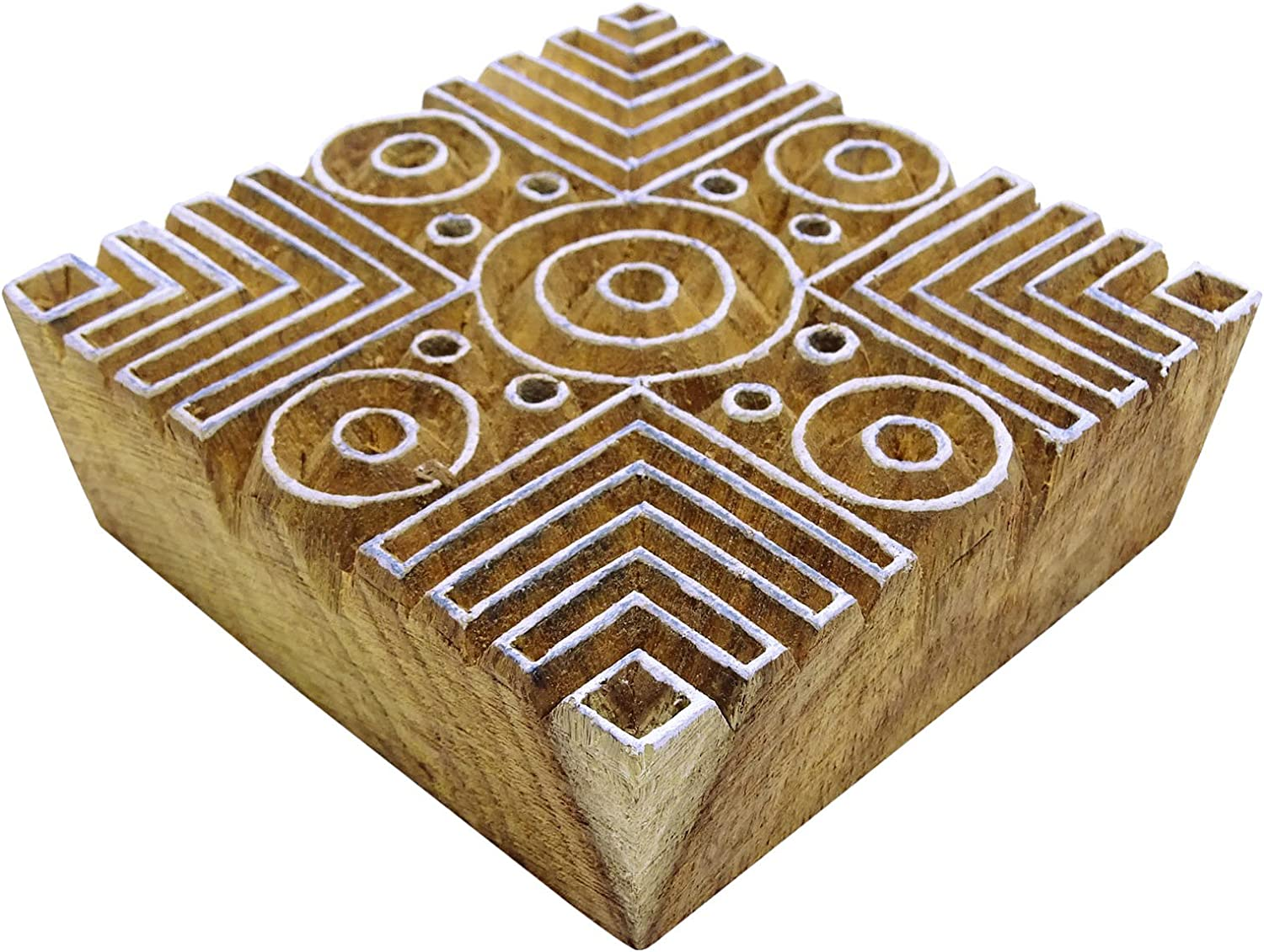 Indian Hand Carved Textile Printing Blocks Wooden Fabric Stamps 6876