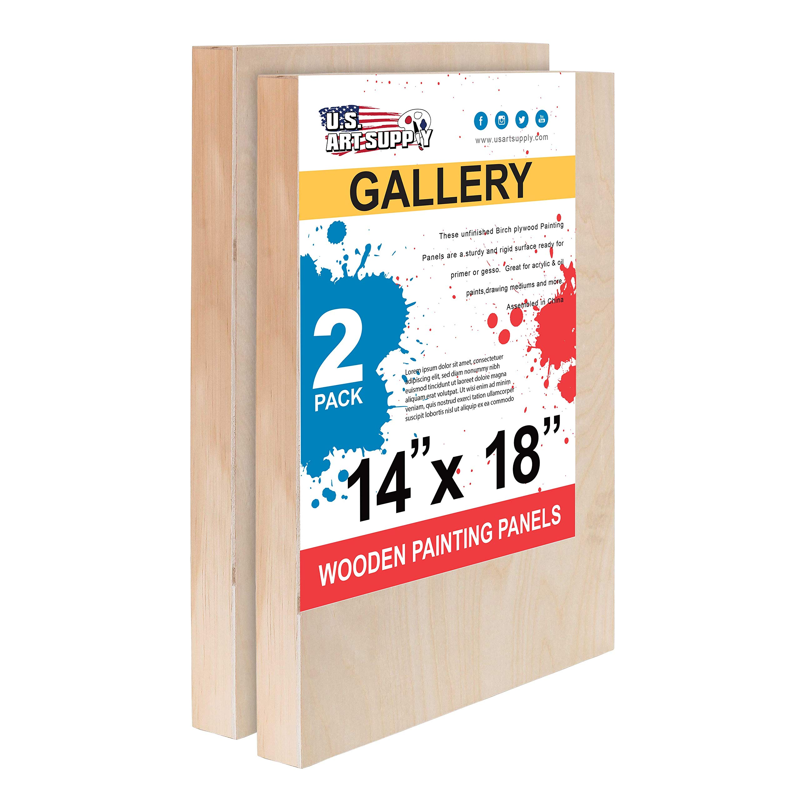 U.S. Art Supply 14'' x 18'' Birch Wood Paint Pouring Panel Boards, Gallery 1-1/2'' Deep Cradle (Pack of 2) - Artist Depth Wooden Wall Canvases - Painting Mixed-Media Craft, Acrylic, Oil, Encaustic by U.S. Art Supply