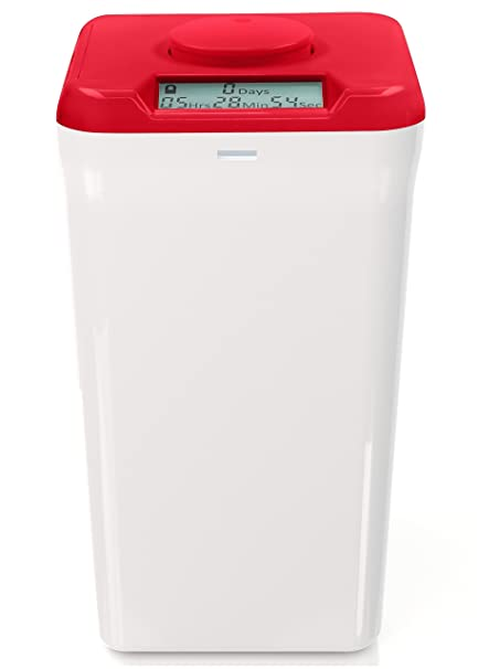 Beau Kitchen Safe XL: Time Locking Container (Red Lid + White Base)   10.4u0026quot