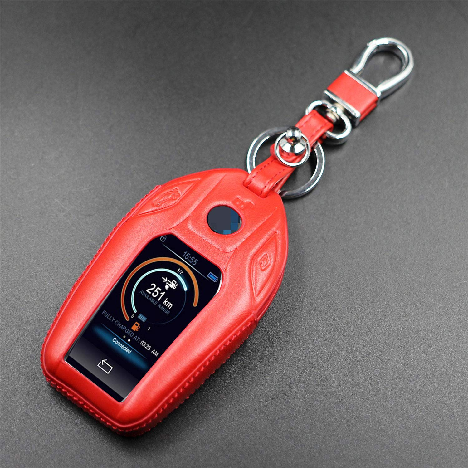 Black M.JVisun Leather Key Fob Case For Men Women Leather Key Fob Cover For BMW LCD Key Smart Car Remote Key Pouch Bag With Key Rings Kit Key Chain Keychain Holder Metal Hook