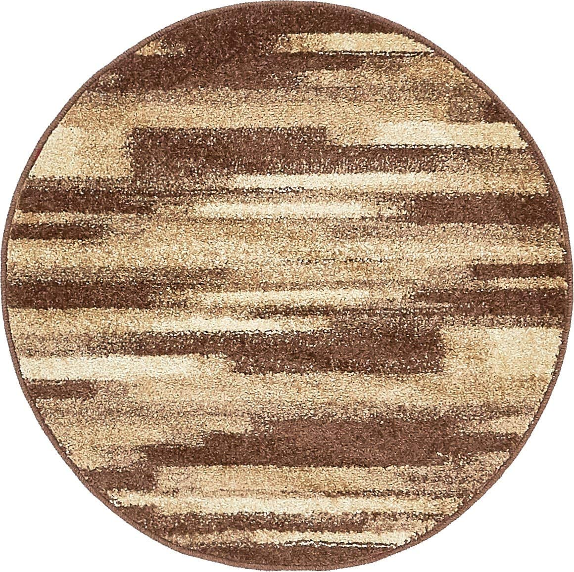 Unique Loom Autumn Collection Gradient Casual Warm Toned Brown Round Rug 3 3 x 3 3