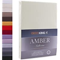 DecoKing Drap-Housse en 100% Coton Peigné Jersey, Amber Collection