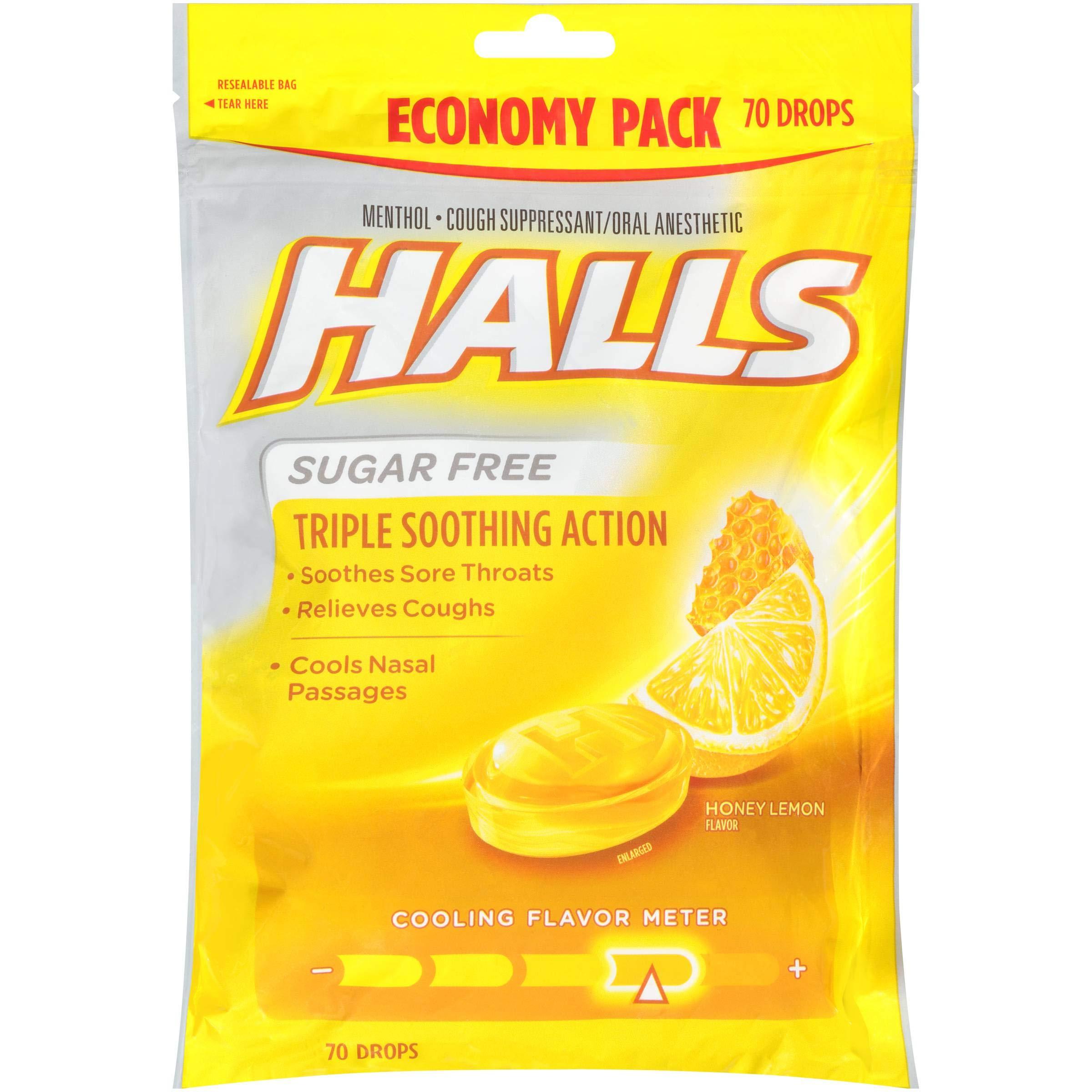 Halls Honey Lemon Sugar Free Cough Drops - 70 per Pack - 12 Packs per case.