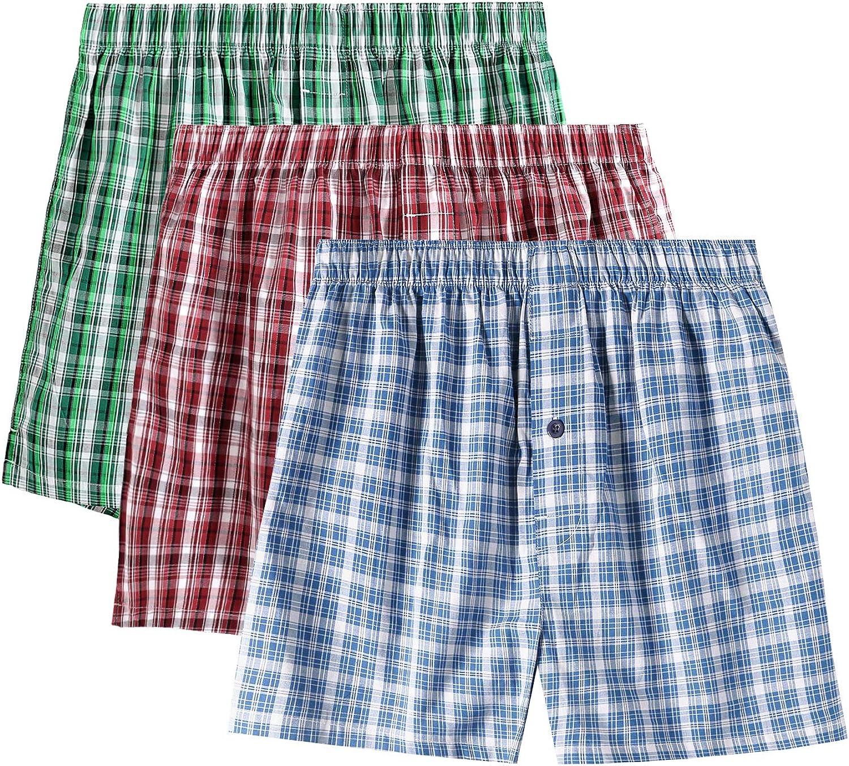 LAPASA Men's Cotton Classic Woven Boxer Shorts Plaid Underwear Button Fly 3 Pack M40