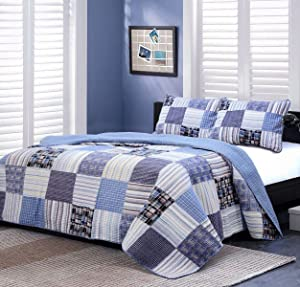 Cozy Line Home Fashions Daniel Denim Navy/Blue/White Plaid Striped Real Patchwork Cotton Quilt Bedding Set, Reversible Coverlet,Bedspread(Denim Patchwork, Queen -3 Piece)