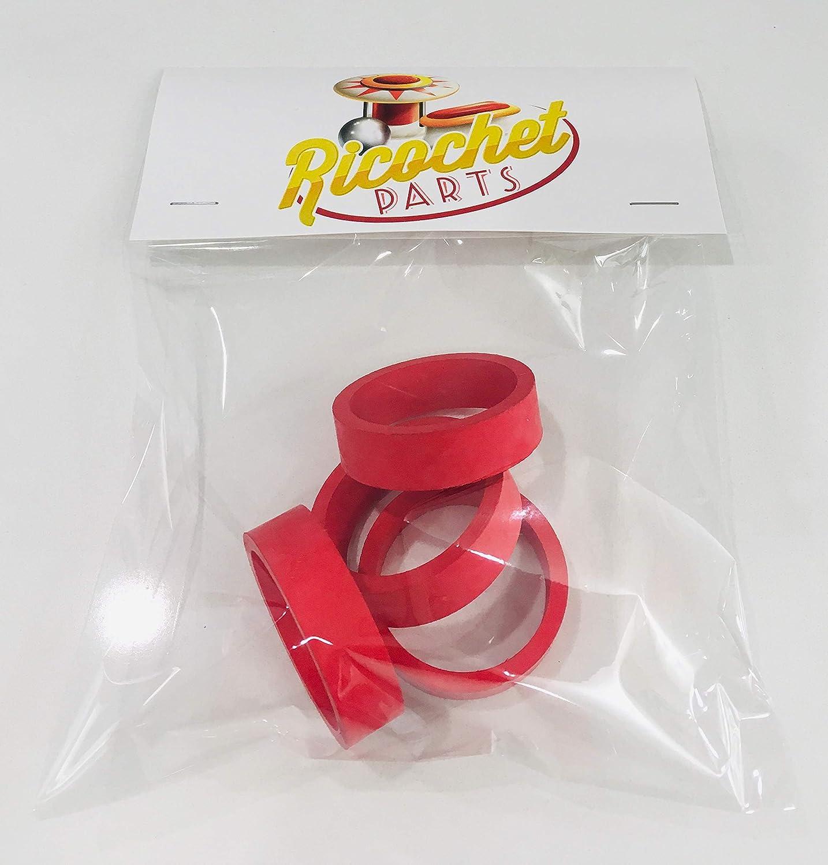 1.5 x .5 Ricochet Parts Set of 4 Red Pinball Flipper Rubber