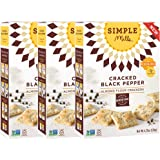 Simple Mills Almond Flour Crackers, Cracked Black Pepper, Naturally Gluten Free, 4.25 oz, 3 count