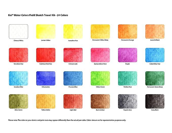 sakura xncw 24n 24 piece koi assorted water colors field sketch set