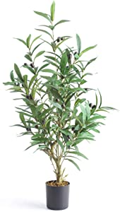 TreeishDécor   Artificial Plants, Fake Olive Tree, Faux Fruit Plants, Silk Tropical  31-inch, Indoor Outdoor Home Office Greenery Decoration   With 4-inch Black Pot - Realistic Design - Foliage Decor