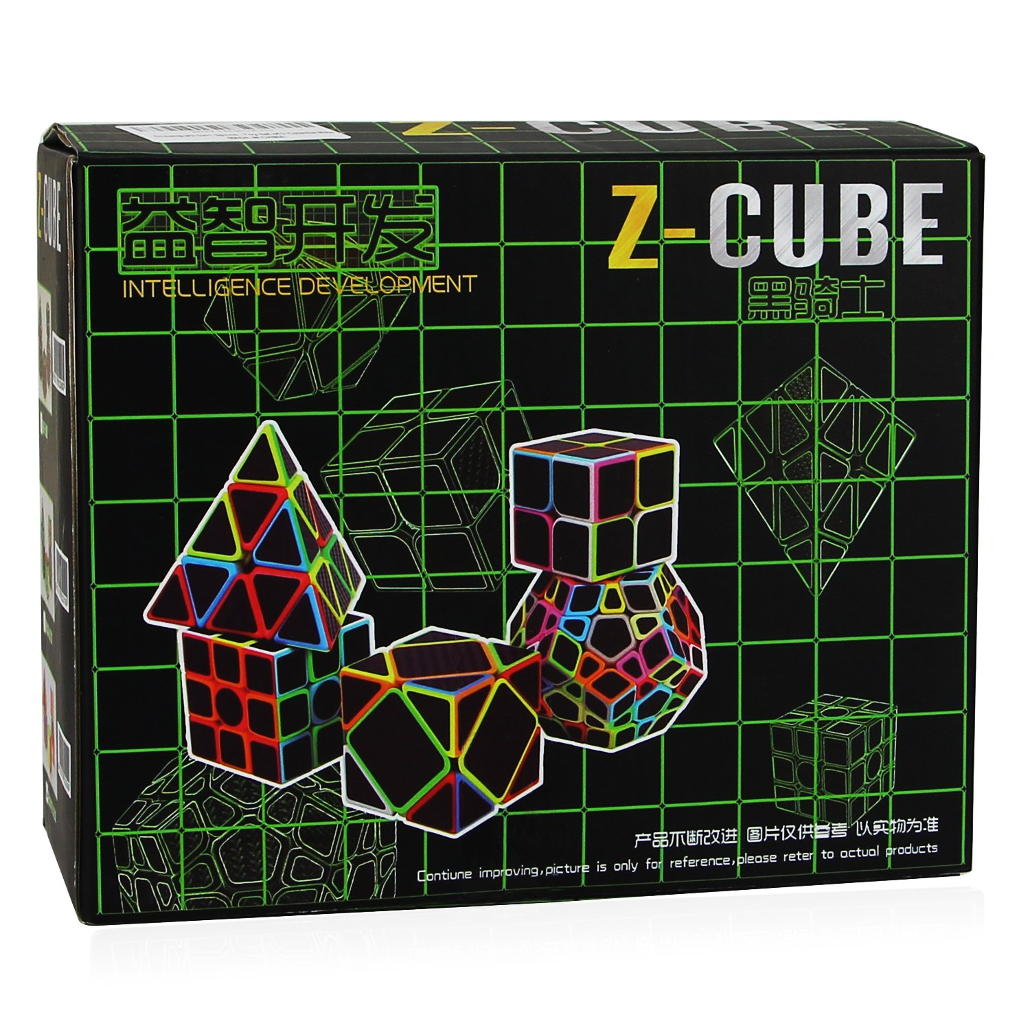 Dreampark Speed Cube Bundle [5 Pack] 2x2 3x3 Megaminx Skewb Pyramid Carbon Fiber Sticker Magic Cube Puzzle Toy Set of 5