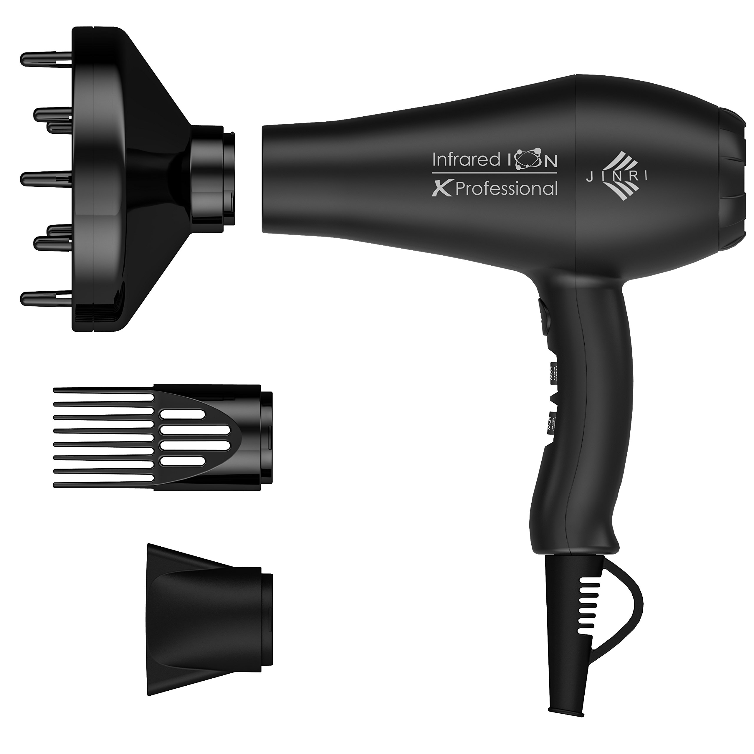 Jinri Professional Salon 1875w Far Infrared Negative Ion 2 Speeds 3 Heat Ionic Hair Dryer with Diffuser and Concentrator,Black Color by Jinri (Image #1)