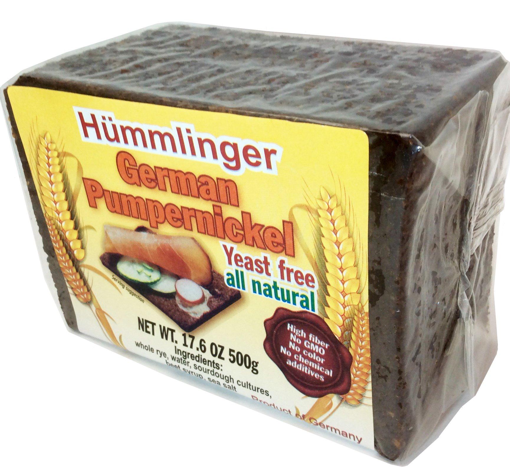 Hummlinger Yeast Free German Pumpernickel Bread, GMO FREE 17.6oz (6 packs)