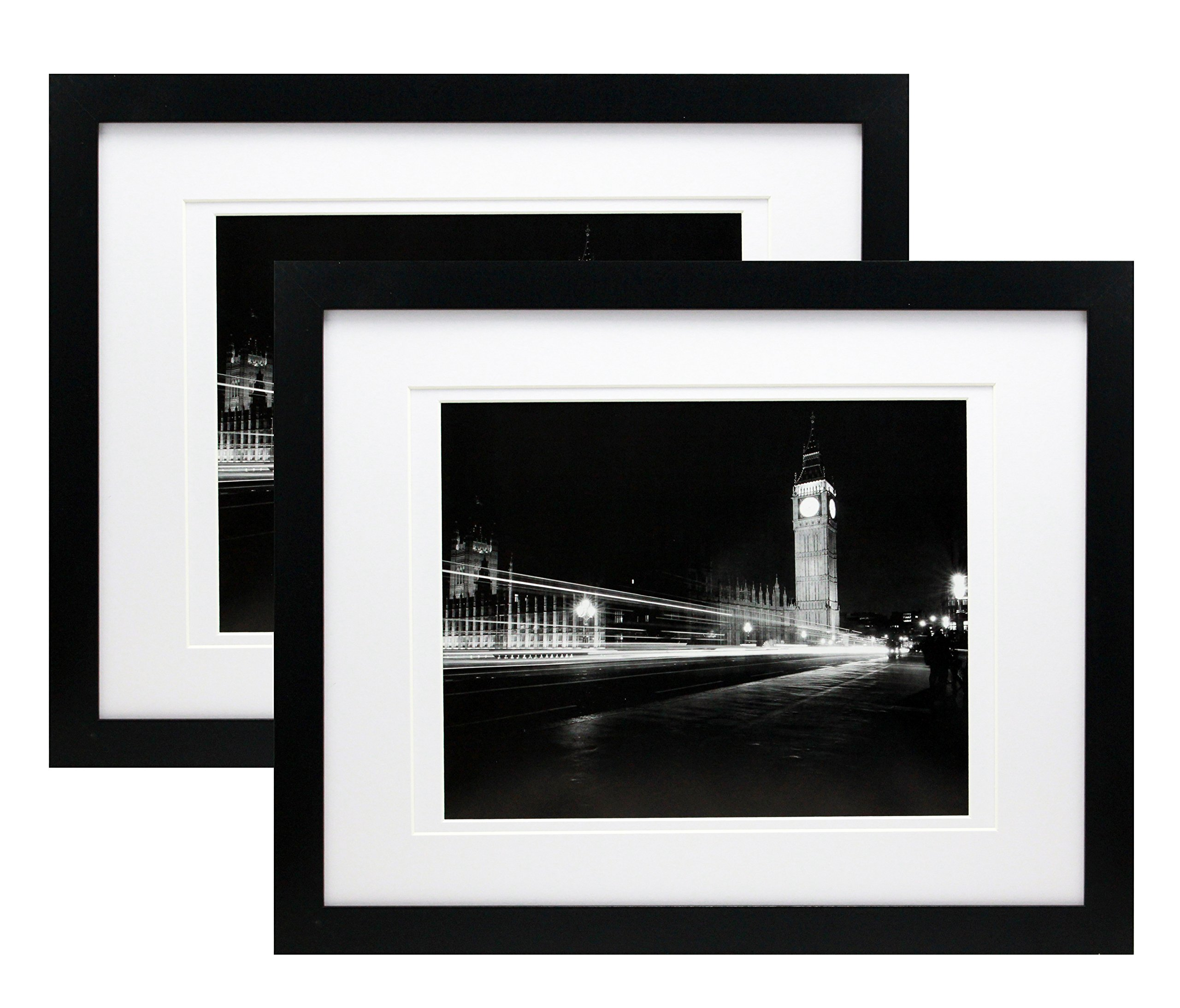 11x14 Black Gallery Picture Frame with 8x10 and 8.5x11 Mat - Two Frames - Wide Molding - Includes Both Attached Hanging Hardware and Desktop Easel - Display Pictures Documents Certificates (2-Pack) by Smashed Banana