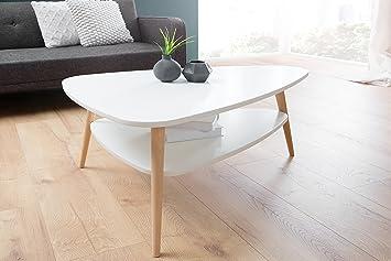 GroBartig DuNord Design Couchtisch Wohnzimmertisch Holz Weiß Ablage Nierentisch Retro  Design STOCKHOLM Skandinavisches Design