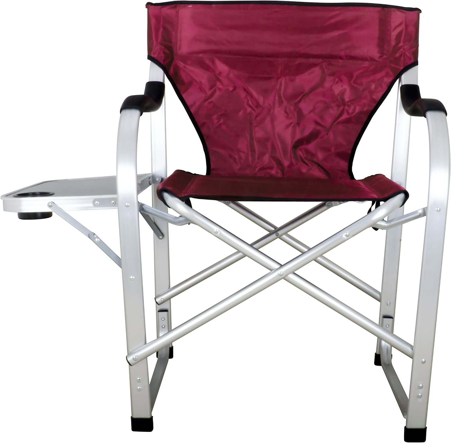 Stylish Camping Heavy Duty Folding Camping Director Chair w Side table Burgundy SL1215