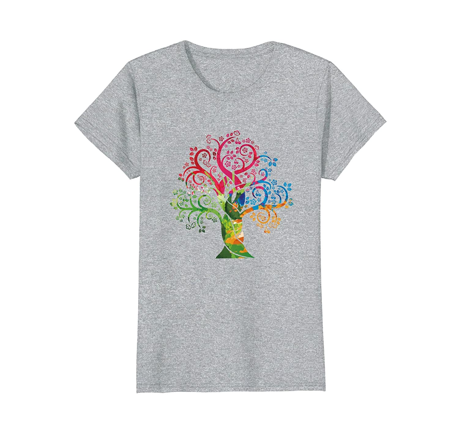 Womens Colorful Life is really Good Vintage Tree Art T-Shirt-ah my shirt one gift