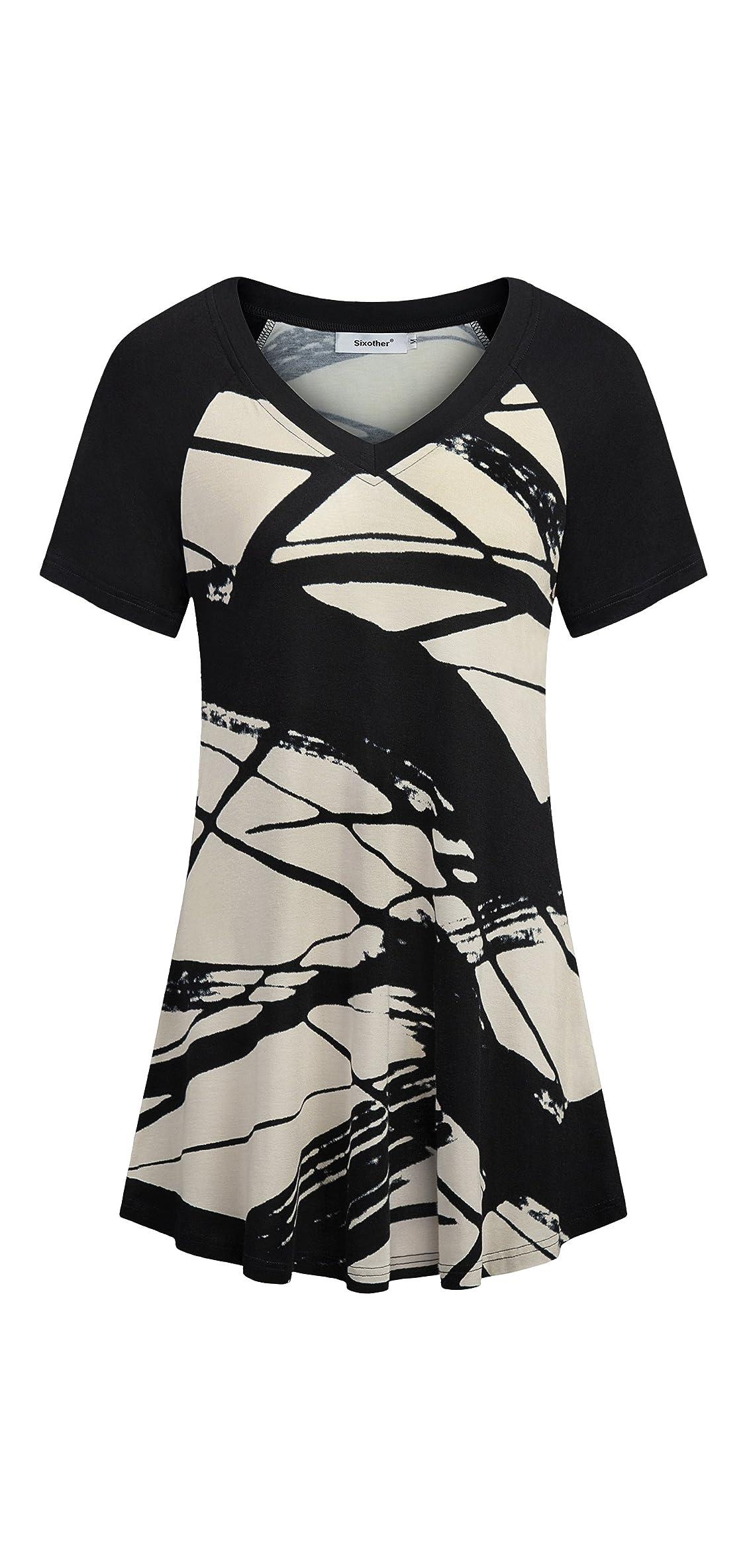 Womens Floral Printing Tunics Short Sleeves Tops V Neck