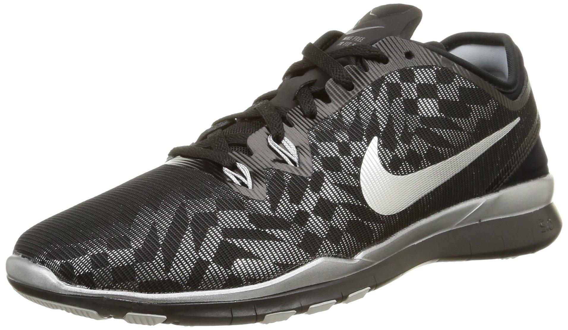 Nike Womens Free 5.0 Tr Fit 5 MTLC Black/Metallic Silver/Flt Slvr Training Shoe 6