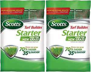 Scotts Turf Builder Starter Food for New Grass, 15 lb. - Lawn Fertilizer for Newly Planted Grass, Also Great for Sod and Grass Plugs - Covers 5,000 sq. ft. - 2 Pack