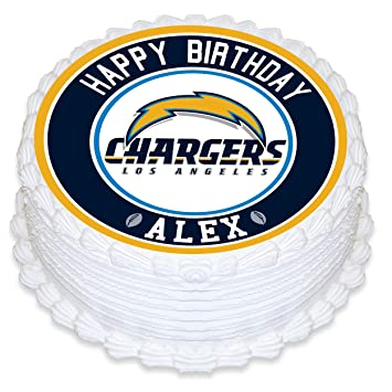 Los Angeles Chargers Edible Image Cake Topper Personalized Birthday 8quot Round Circle Decoration Custom Sheet