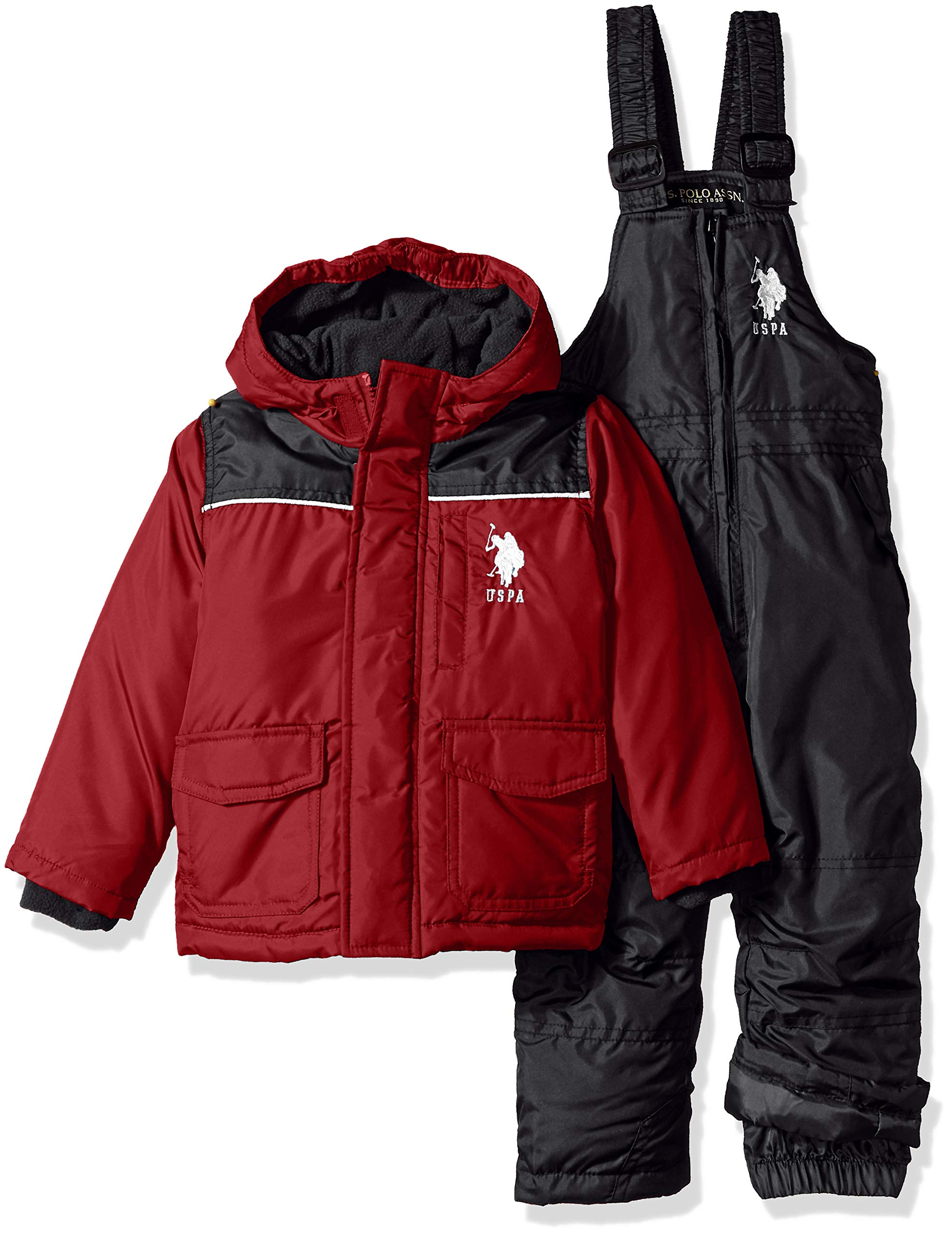 US Polo Association Boys' Toddler 2 Piece Snowsuit with Ski Bib Pant Set, Red/Black, 3T