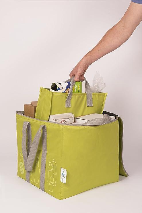 El receptáculo verde patentado de bolsas de reciclaje - con ...