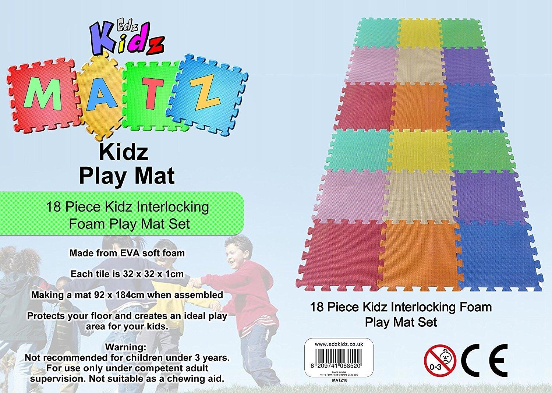 18 PC Kids Interlocking Foam Play Mat Set