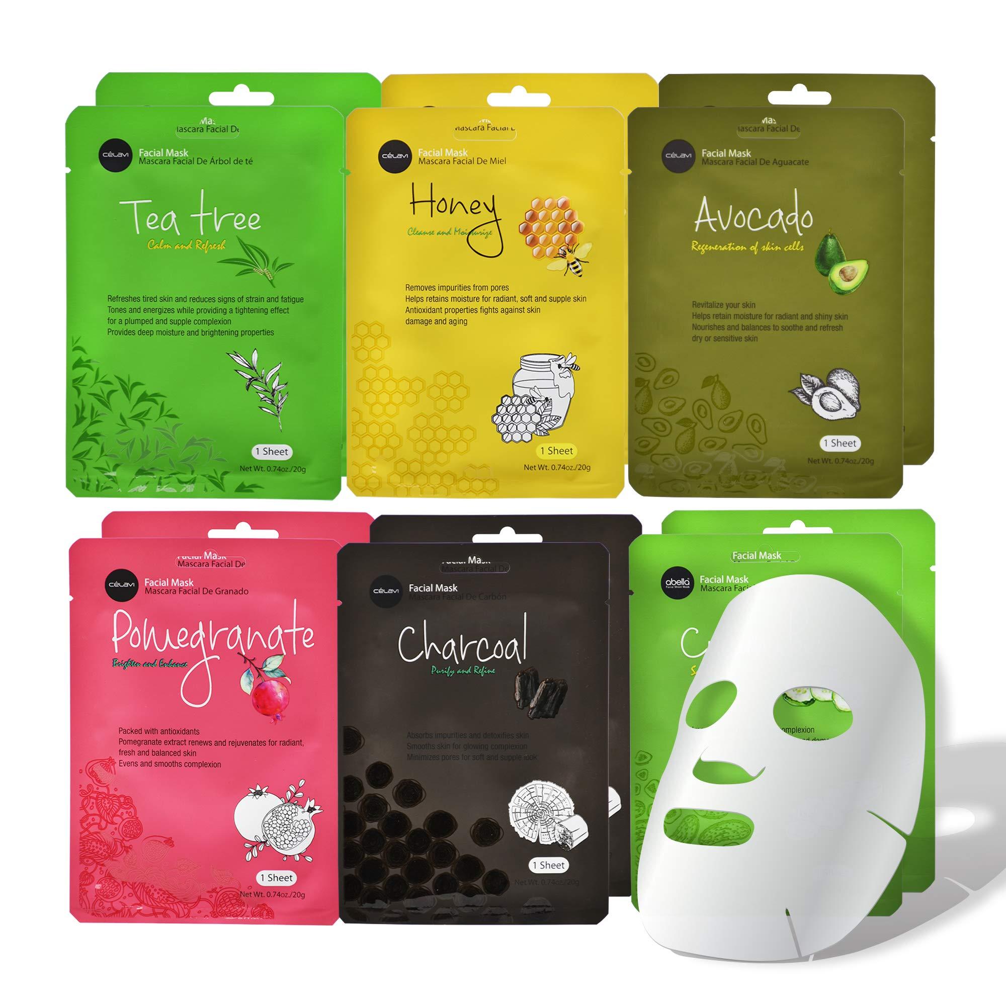 Celavi Essence Facial Face Mask Paper Sheet Korea Skin Care Moisturizing 12 Pack (Mix - 2 of Each)