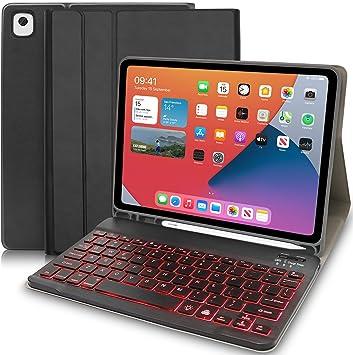 Teclado Inalámbrico iPad, 10.2 Funda con Teclado Bluetooth Español con 7 Retroiluminados Colores Bluetooth Teclado Tablet for iPad Apple 7th Gen A2200 ...