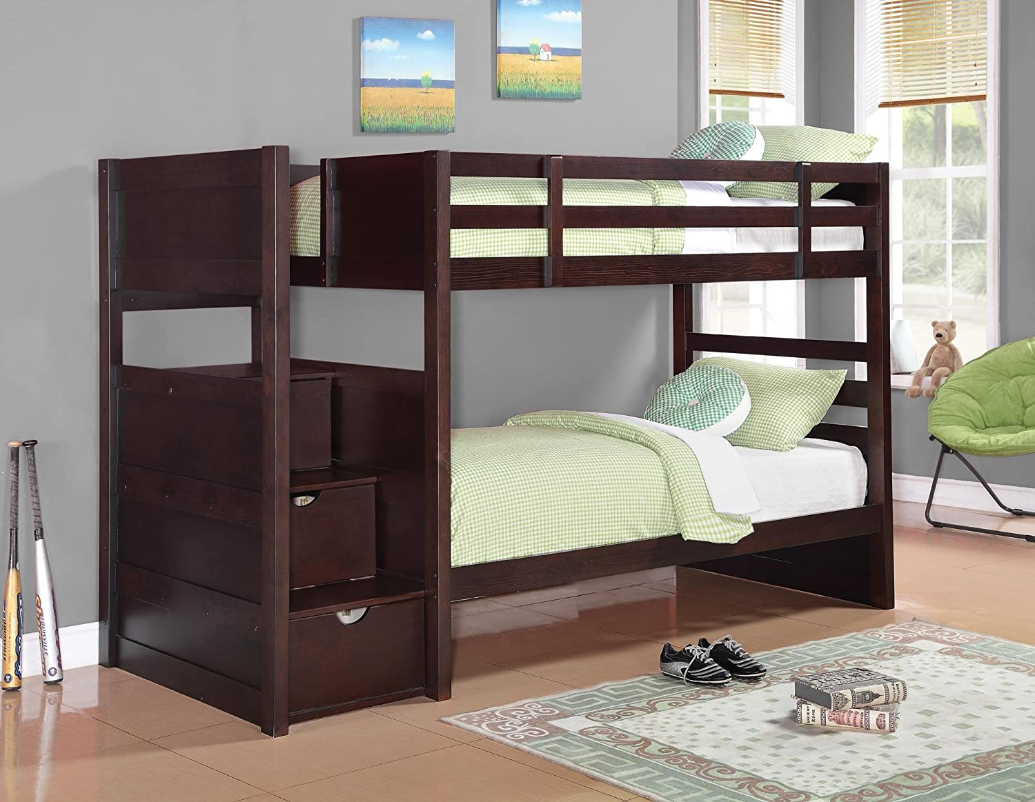 Amazon.com: Twin Over Twin Bunk Bed in Cappuccino Finish: Kitchen ...