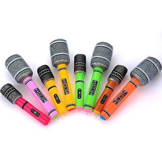 Hicarer 8 Piezas Micrófono Inflable Micrófono de Juguete Set ...