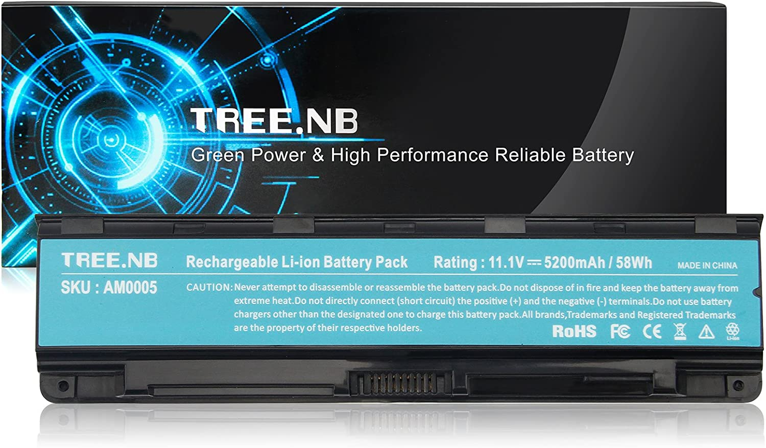 Tree.NB High Performance Laptop Battery Compatible with Toshiba PA5024U-1BRS PA5023U-1BRS PA5025U1BRS PA5026U-1BRS PA5027U-1BRS, PABAS259 C800 C845 L835 L850, Upgraded Cells Li-ion Battery Packs