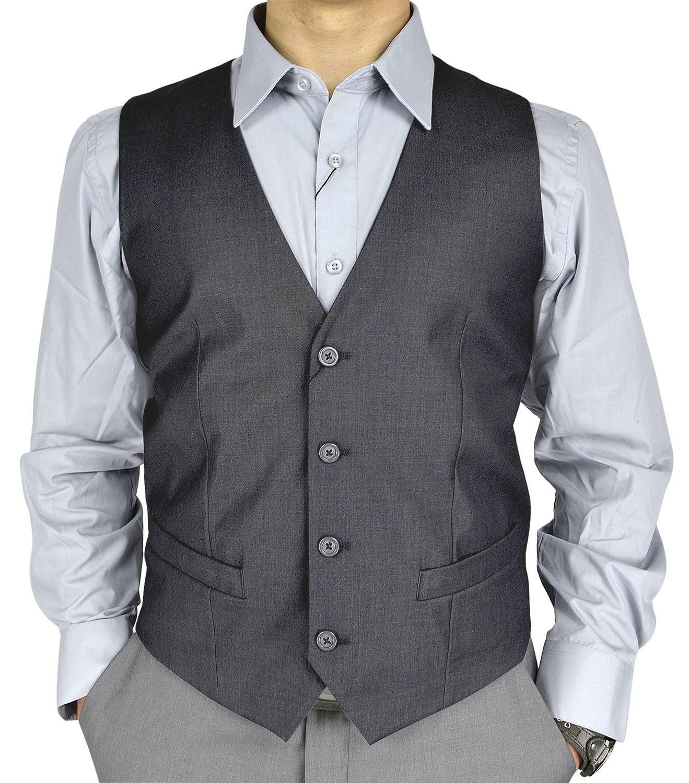Moda Di Raza Mens V-Neck Formal Slim Wedding Fashion Solid Color Dress Suit Vest - Charcoal/XX-Large