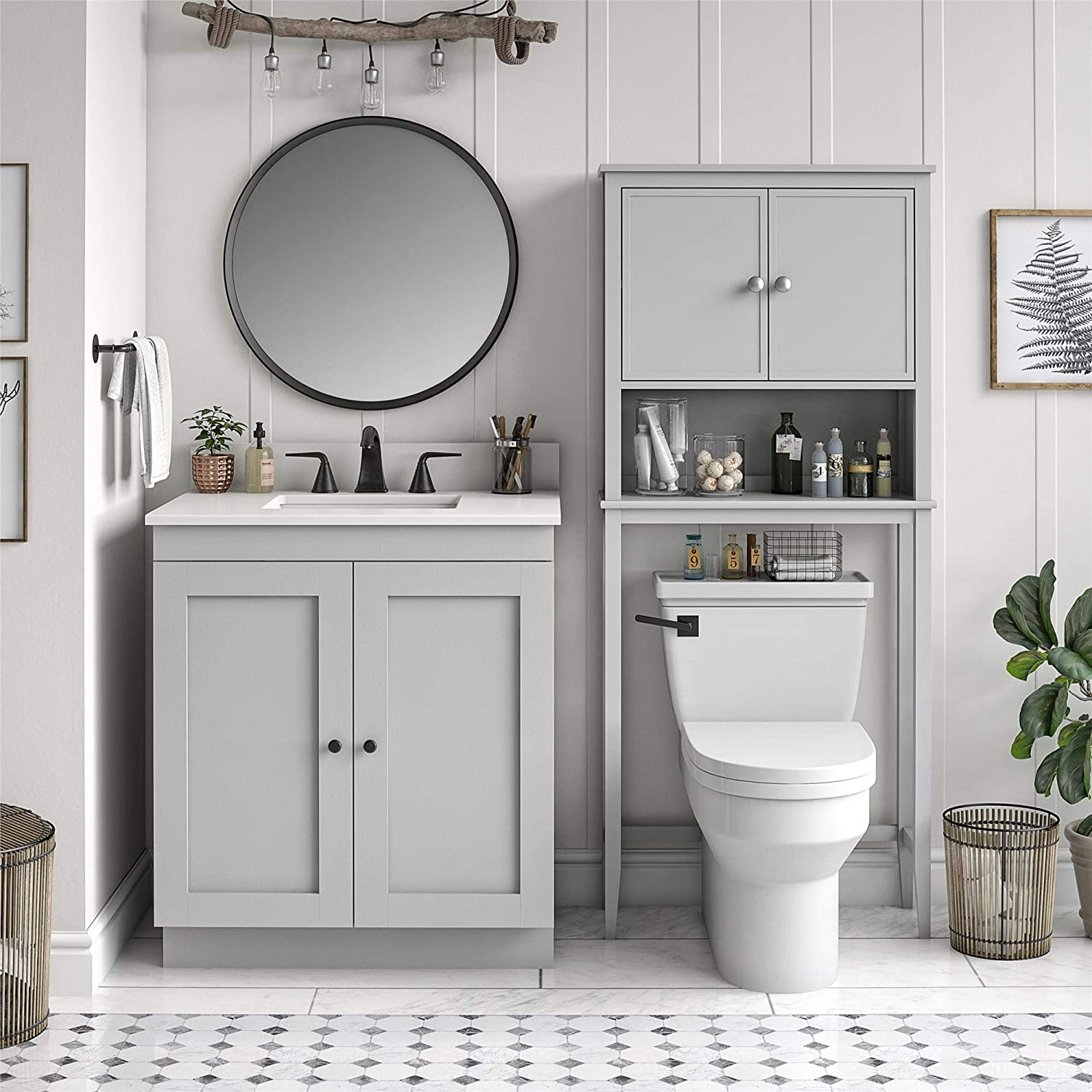 Ameriwood Home SystemBuild Franklin Over The Toilet, Gray Storage Cabinet